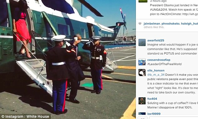 Americans weren't amused after the White House posted a short video clip showing the commander-in-chief casually saluting a pair of US Marines while holding a drink