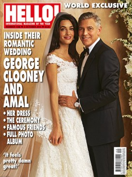 Happy ever after: People and HELLO! magazine bought the rights - with money to be donated to an as-yet-unnamed charity - to pictures of George Clooney's lavish wedding to Amal Alamuddin on Saturday and revealed details of the cake, guests and of course,