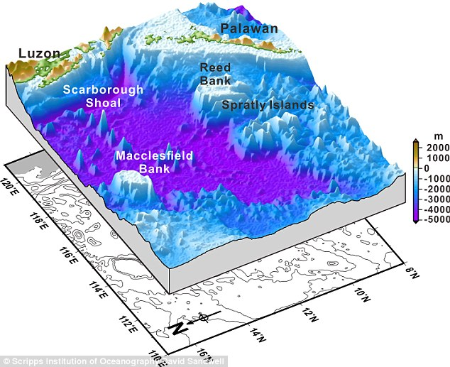 Using data from Nasa and the European Space Agency satellites, geophysicists have been able to build the most detailed map of underwater ridges, trenches and plateaus to date. Depths over seamounts, including Reed Bank and Palawan, in the South China Sea are pictured