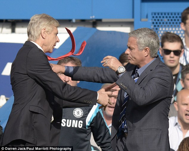Arsene Wenger shoves Jose Mourinho in the chest with about 20 minutes gone at Stamford Bridge on Sunday