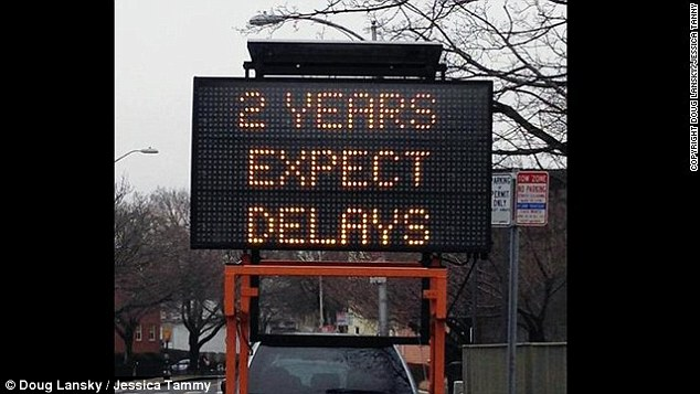 Commuters in Camebridge, Massachusetts, are warned of some major delays with this hilarious sign