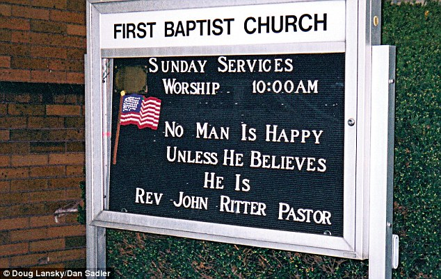 It's clear from this Ambridge, Pennsylvania sign that Reverend John Ritter is one very content fellow