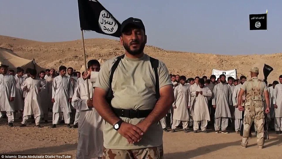 Speaking: The video includes talks from two members of ISIS - one to the camera (above) and one to recruits