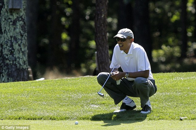 Tee time? The president embarked on his leisurely outing to Ft. Belvoir in Virginia after taking a a few moments to speak with Health and Human Services Secretary Sylvia Burwell for an update on the worsening Ebola situation in Dallas