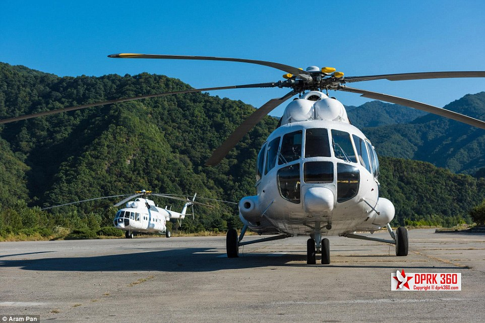 He took a flight on Air Koryo's Mi-17, a Soviet-designed medium twin-turbine transport helicopter