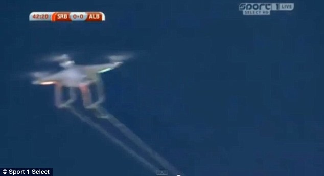 A remote-controller drone was used to show off the flag, before being pulled down by Aleksander Mitrovic