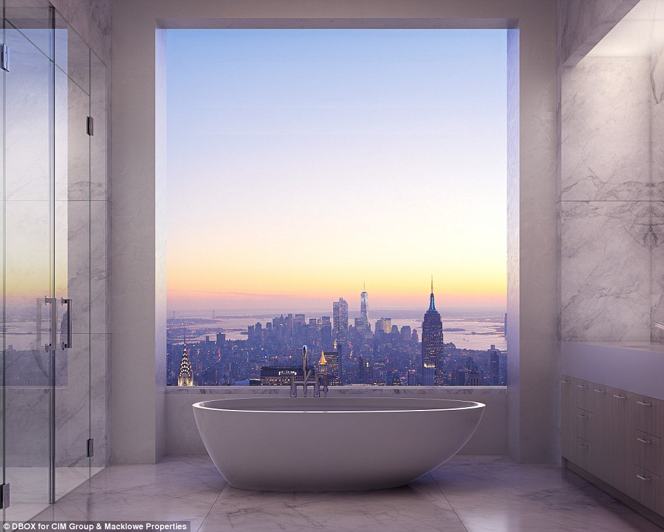 Stunning: This marble bathroom at 432 Park Avenue - which stands at a staggering 1,396 feet - offers a breathtaking view of New York