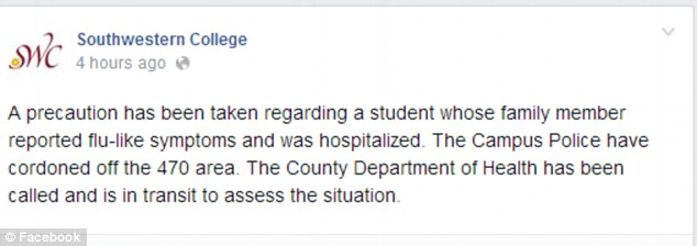 California: Officials posted this statement on the college's Facebook page this morning after closing