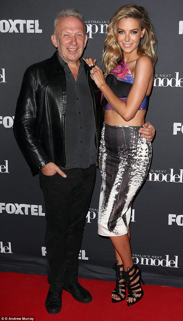Photo time: The 30-year-old Australian model and 62-year-old French designer posed for snaps at the Australia's Next Top Model soiree dedicated to welcoming the fashion guru Down Under