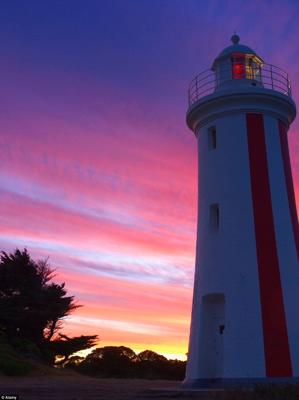 The Mersey Bluff Lighthouse, in Devonport, was built in 1889 and looks stunning at sunset