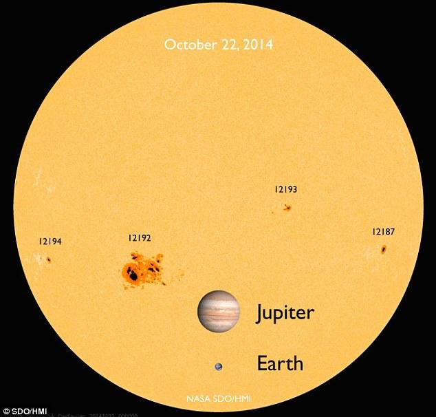 Un SDO vue / HMI du soleil visible montrant la plus grande tache solaire de cycle solaire 24, AR12192 - qui se rapproche de la taille de la Terre.