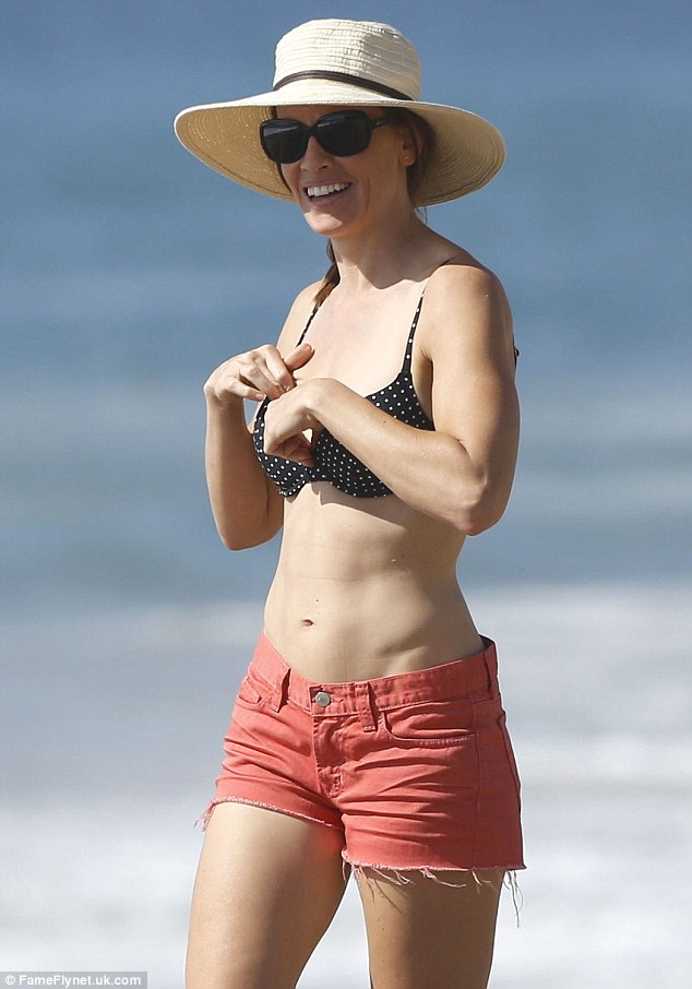 Hilary Swank Dons Polka Dot Bikini For The Beach With