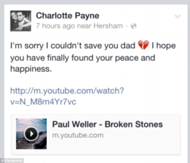 His daughter Charlotte Payne posted this heartfelt tribute to her father on Facebook