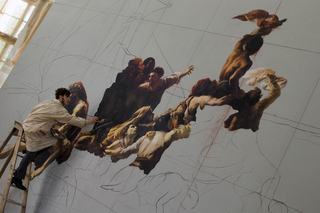 In this photo taken Saturday, May 3, 2014, French actor Nathan Gabily, performing in the role of Theodore Gericault, paints a copy of the Raft of the Medusa ...