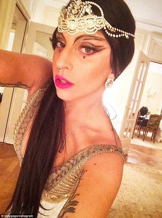 Lady Gaga In Low Cut Frock For Halloween Costume As A Sexy