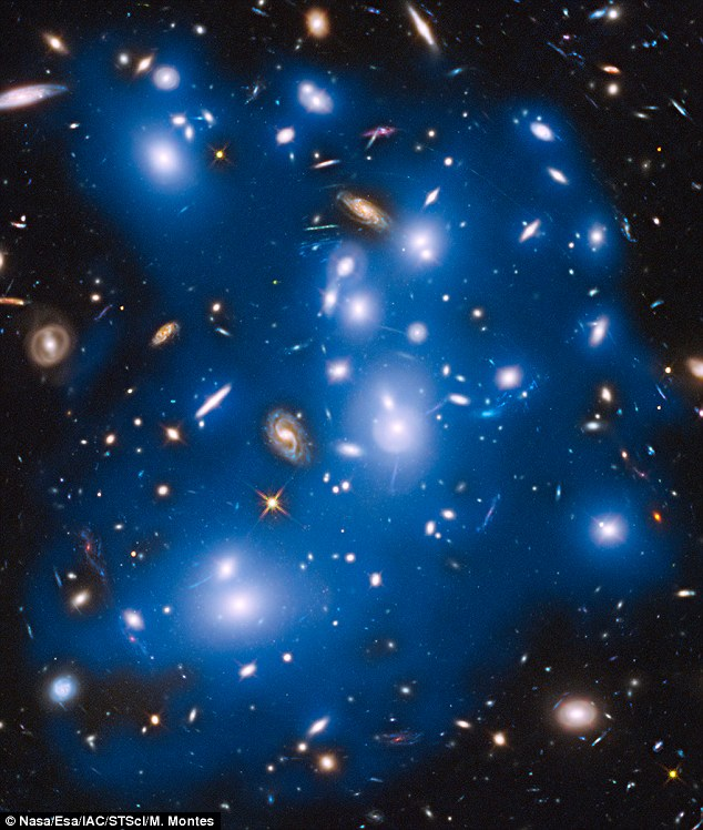 Scientists at Nasa in California have spotted evidence of galaxy destruction in massive galaxy cluster Abell 2744, seen here. Total starlight from the cluster has been coloured blue, with the dispersed light shown in dark blue. The light comes from 'dead' galaxies town apart at the centre of this cluster
