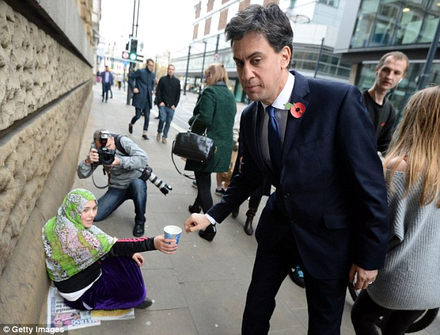 Ed Miliband Drops Just 2p Into Homeless Begging Womans