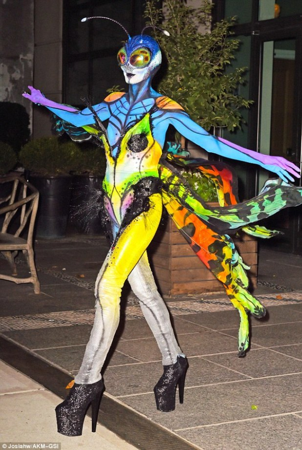Painted lady: The supermodels extraordinary costume featured an elaborate bodysuit and body paint