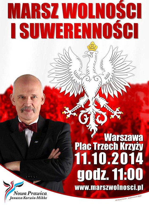 Leader of the Polish 'new right' Janusz Korwin-Mikke (pictured) says women shouldn't have the vote and disabled people should not be on television. He has even queried rape as women are 'always pretending they are showing some resistance'