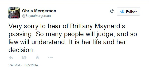 Backing: Chris Mergerson supported her decision, saying it was 'her life and her decision'