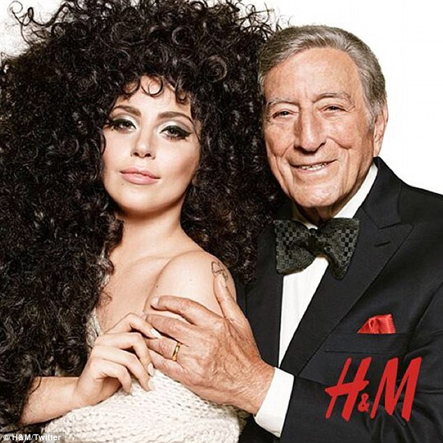 Fashion high: Lady Gaga has also teamed up with music legend Tony Bennett for H&M's latest campaign