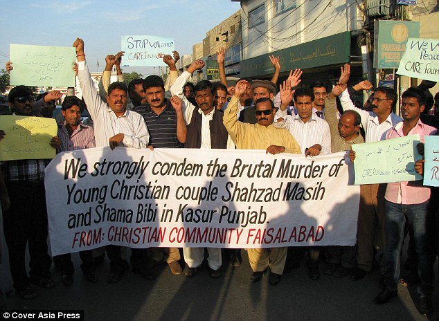 The Christian community in nearby Faisalabad demanded justice for the couple after they were killed in November 2014