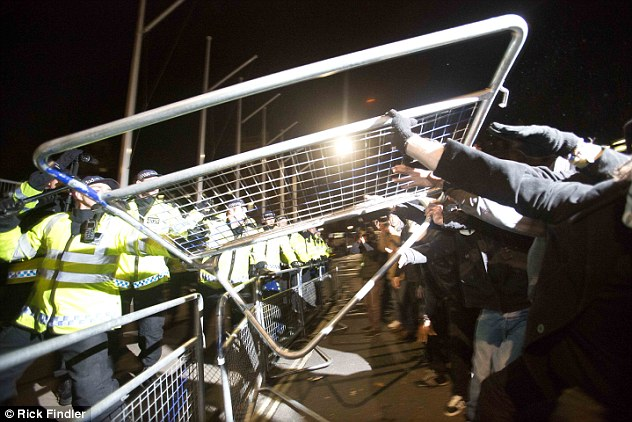 Barricades erected in anticipation of the protest were later lifted by demonstrators as police attempted to control scenes in Parliament Square
