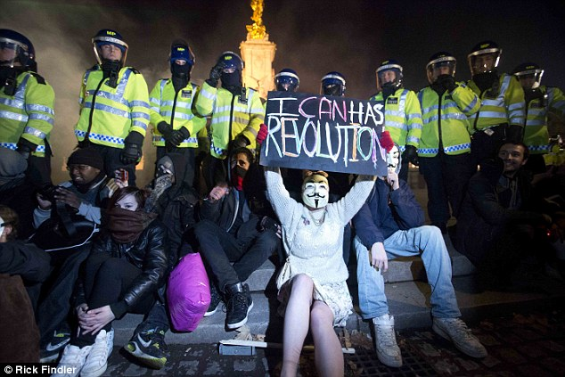 Most people protested peacefully, but some ten arrests were made, Metropolitan Police said