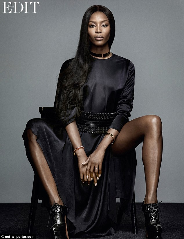 Still a super: Naomi Campbell may have broken into the industry nearly thirty years ago but at 44, she's better than ever - and proves it in this glossy shoot for The Edit