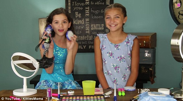 Beauty guru: In addition to her toy reviews, 11-year-old Emma, who stars alongside her siblings on YouTube channel KittiesMama, also does costume and make-up tutorials