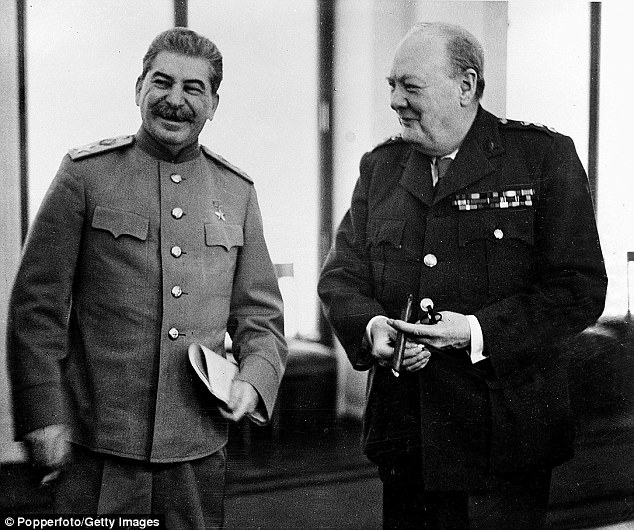 Russian leader Joseph Stalin (left) and Winston Churchill (right) in 1945 - he urged the US to launch a nuclear attack on the Soviet Union to win the Cold War