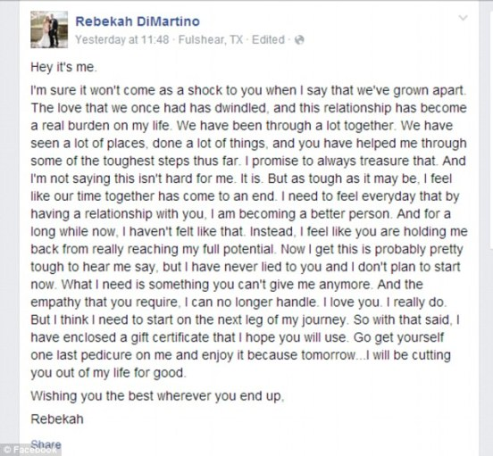 Saying goodbye: She posted this farewell note to her left leg on her Facebook page on Sunday