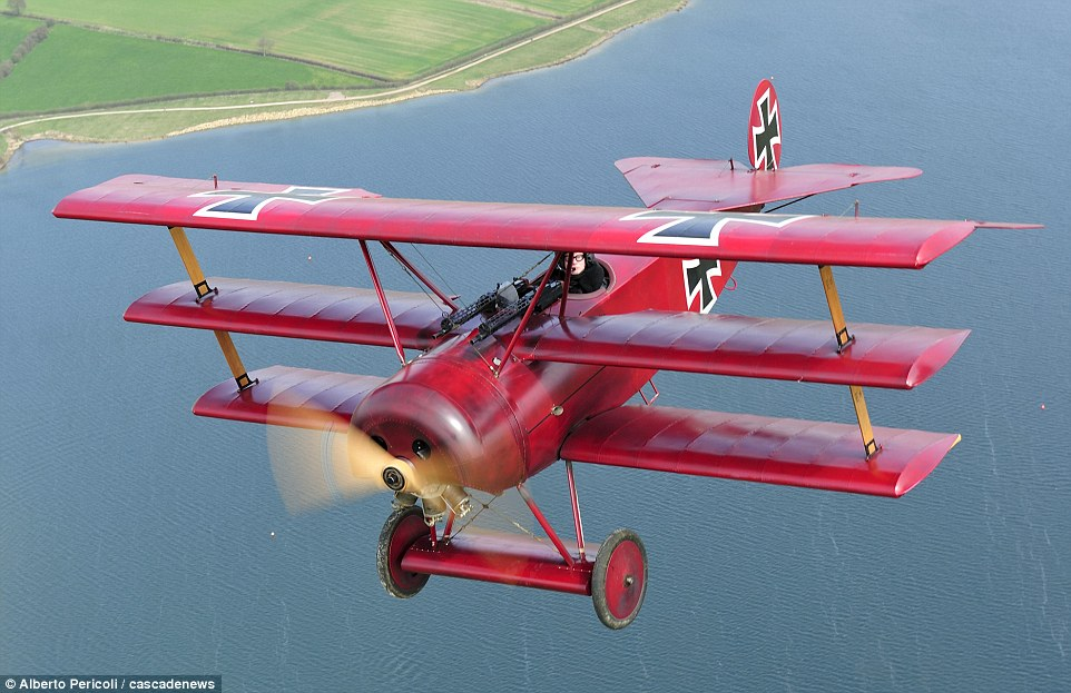 Now that's a model plane: Paul Ford, 52, spent five years and £50,000 creating his working replica of the Fokker Dr1 Dreidecker. The German First World War fighter was made famous by Manfred Von Richthofen, aka the Red Baron, who shot down 70 allied pilots
