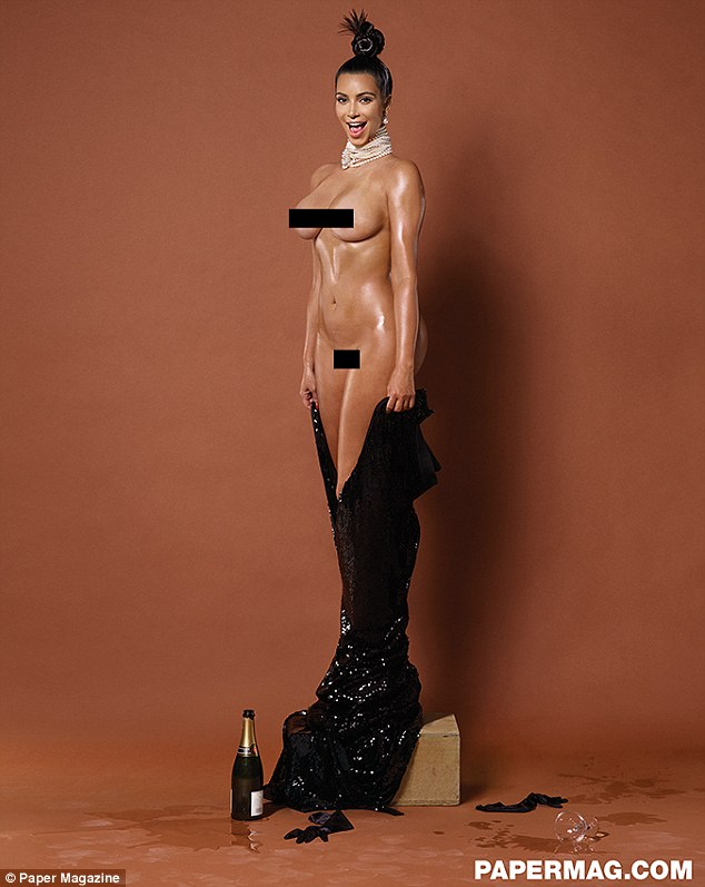 Holding nothing back: Kim Kardashian went fully nude in a newly released shot from her shoot for Paper magazine with Jean-Paul Goude (censored by MailOnline)