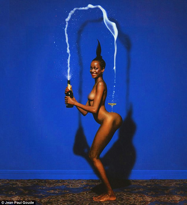 It's Kim's turn: Photographer Jean-Paul Goude recreated his well-known Champagne Incident shot with the 34-year-old