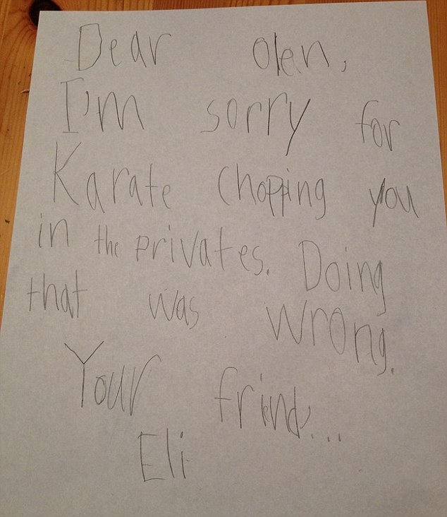A child writes an apology to his friend after karate chopping him 'in the privates'