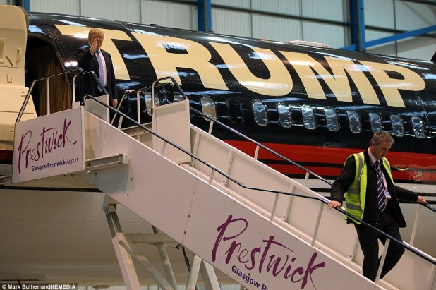 VIP arrival: Trump flew in toPrestwick airport to announce a new partnership with the airport and his TrumpTurnberry resort