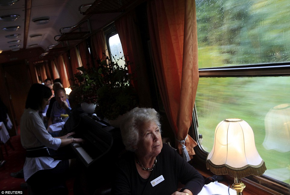 Decadent: The luxury train connecting the capitals of Hungary and Tehran had its maiden voyage in October (pictured)