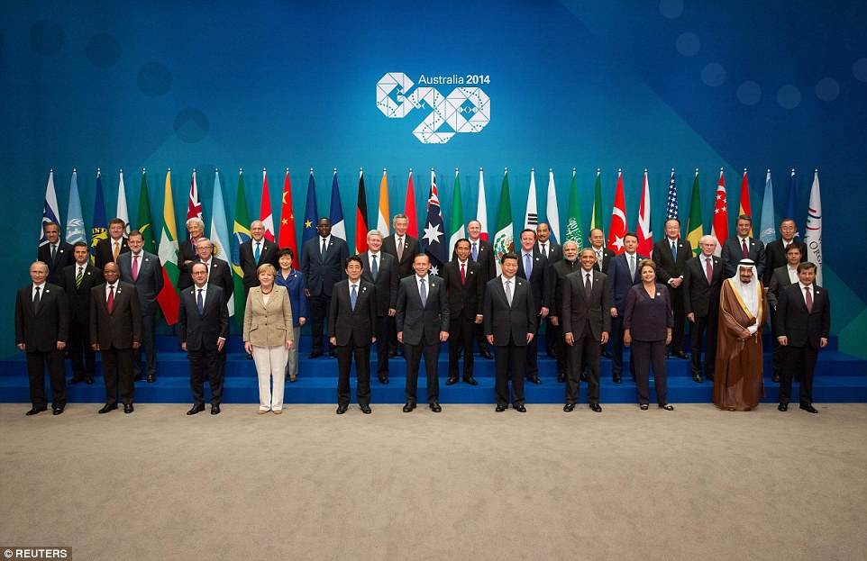The political atmosphere continued to be uncomfortable, with commentators joking that Mr Putin had been relegated to 'Siberia' in the leader's 'family photo', far from the central players Barack Obama, Chinese president Xi Jinping and host Tony Abbott