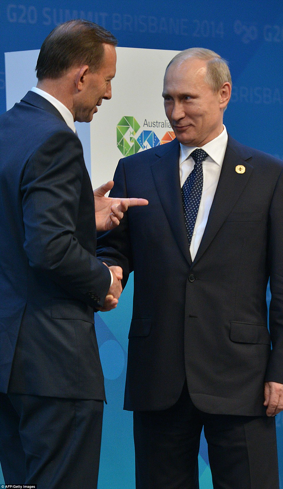 Australian Prime Minister Tony Abbott said he would 'shirtfront' the Russian President