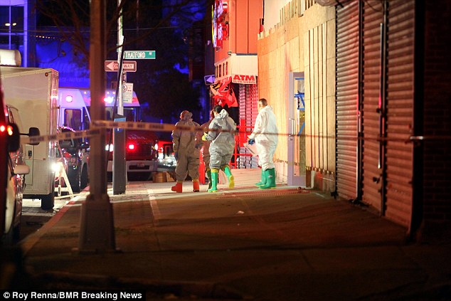 A Hazmat team arrived back at the establishment late on Tuesday to run more tests, setting up in a building across the street