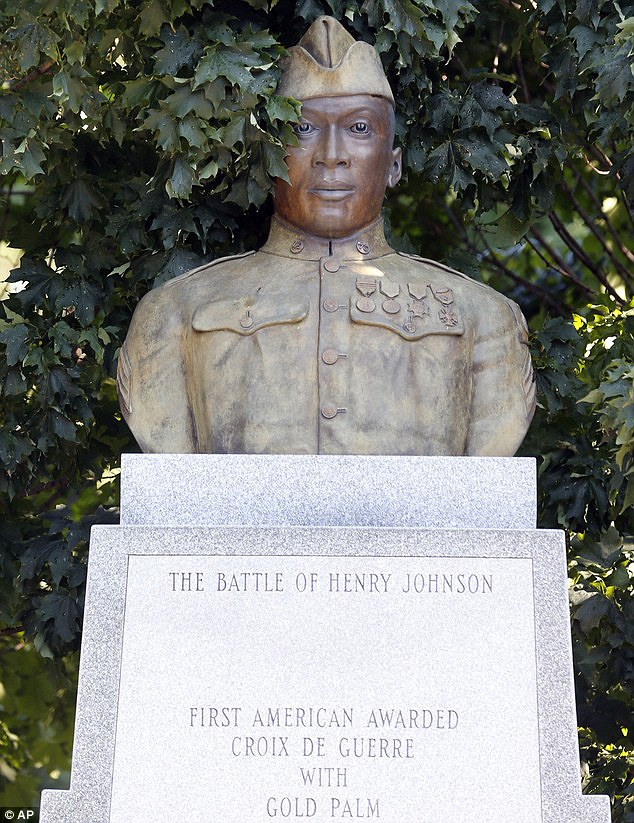 Never forget: A statue of Henry Johnson in Washington Park  in Albany, New York. It has been argued that Johnson be awarded the Medal Of Honor nearly 100 years after he single-handedly fought off a German attack