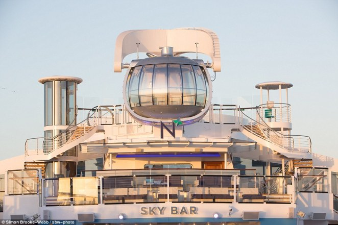 Another first is the North Star, a glass sphere that circles the vessel and takes voyagers up to 90 metres high