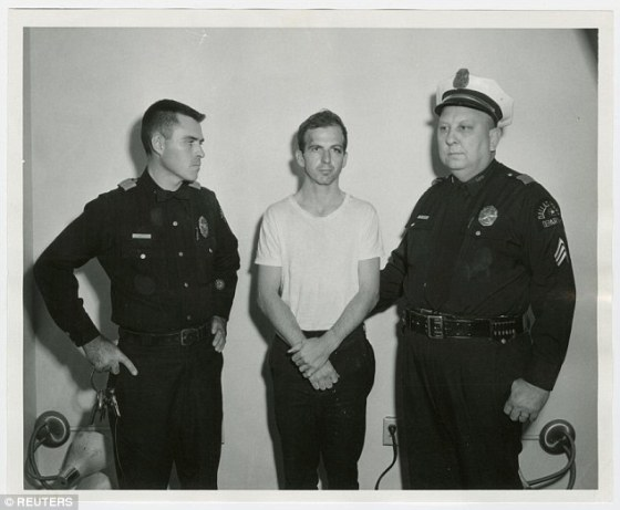 Killed before going on trial:: In the end, Oswald (above) was charged with the murder. Oswald denied killing the president but was killedby nightclub boss Jack Ruby before he could go on trial for murder