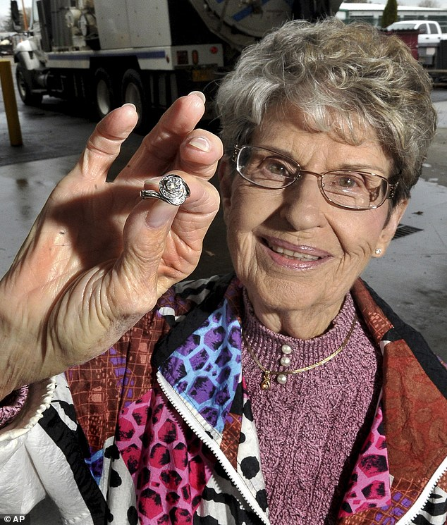 Family heirloom: Pat Hanson was stunned when sewer workers returned a diamond ring that she had accidentally flushed down the toilet a day previously