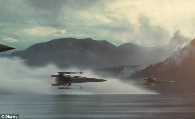 Thrilling: X-Wings race past a remote, mountainous backdrop in another brief action shot from JJ Abrams' new film