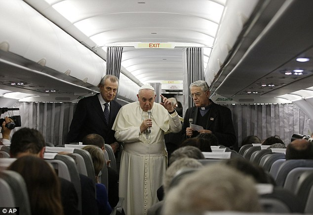 Accusation: At a press conference on board the plane returning him to Rome from Turkey, Pope Francis told journalists that he held the West responsible for selling chemical weapons to the Syrian regime