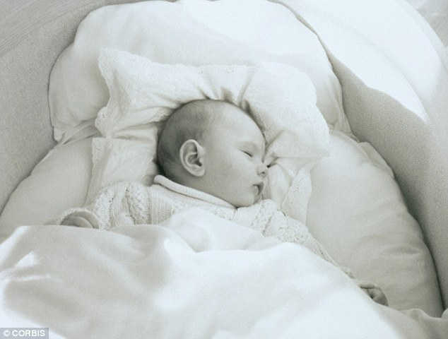 And parents are advised to remove any soft toys from a baby's cot before putting them to sleep, for fear of the toys suffocating the baby (file picture)