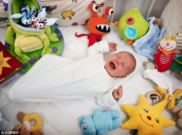 Parents are advised to remove any soft toys from a baby's cot before putting them to sleep, for fear of the toys suffocating the baby (file picture)