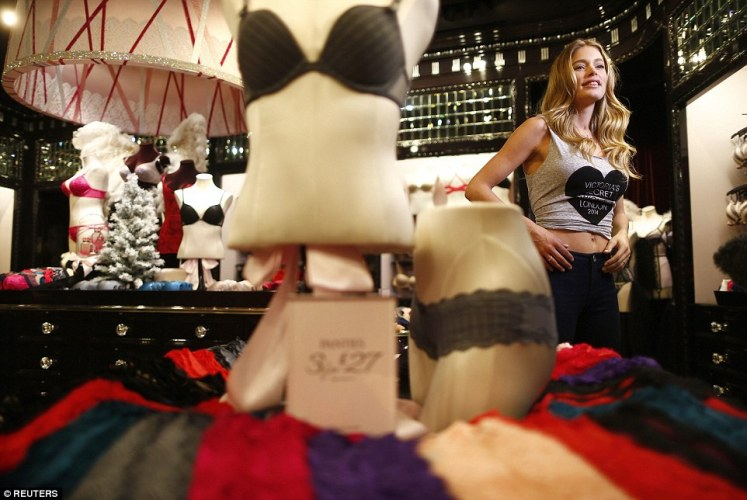 Talking Dutch: Doutzen Kroes, who hails from the Netherlands, prepared for an interview in the New Bond Street store